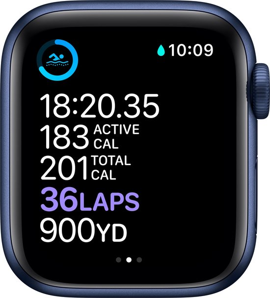 Apple Watch Series 6 44mm Blauw Sporten