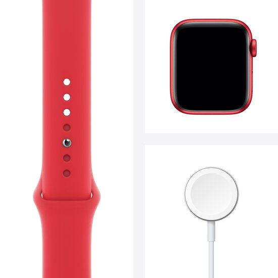 Apple Watch Series 6 44mm Rood Oplader