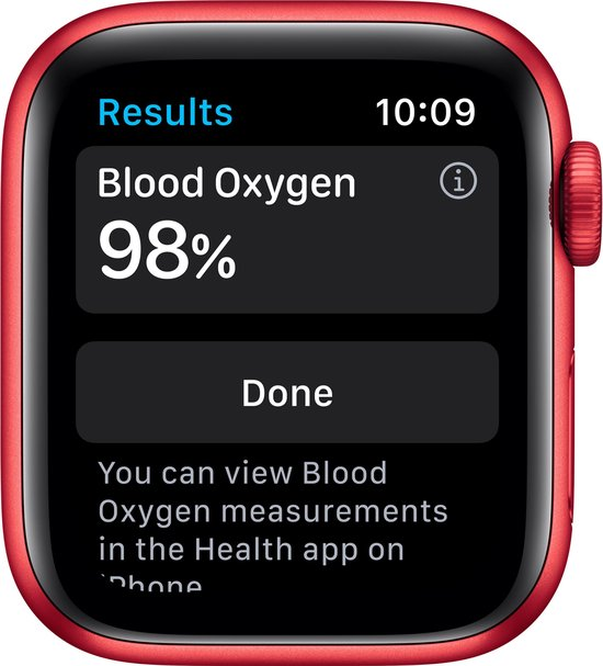 Apple Watch Series 6 44mm Rood Saturatiemeter Zuurstof